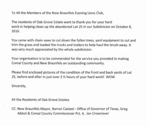 Thank you letter from the neighborhood residents