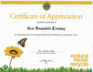 Certificate of appreciation for environment service_2016-2017