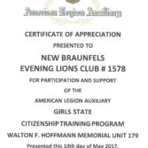 Certificates of Appreciation – Boys and Girls State