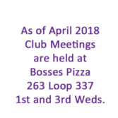 Club Meetings April 2018 and on